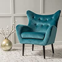 Modern Wingback Armchair - Tufted Back Living Room Velvet Upholstered Accent Chair for Living Room, Guest, Reception and More (Dark Teal)