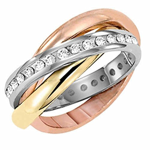 1.25ct TDW White Diamonds 18K Tri Color Gold Rolling Women's Comfort Fit Wedding Band (G-H, SI1-SI2)-(4mm) Size-9.5