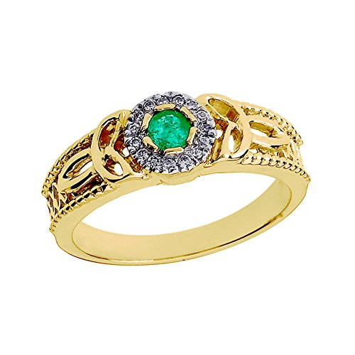 - 10k Yellow Gold Emerald and Diamond Ladies Trinity Knot Proposal Ring (Size 7)