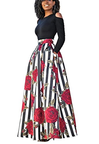 VLUNT Women's African Floral Print A Line Long Skirt Pockets Two Pieces Maxi Dress Two Piece Dress Skirt
