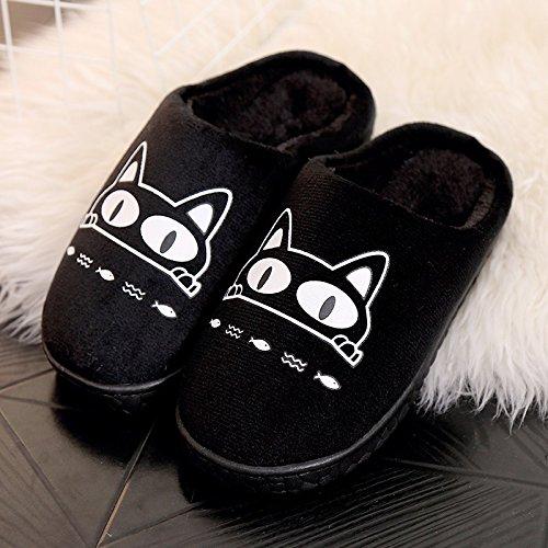 Fankou autunno inverno Cartoon carino uomini e donne adulti pantofole di cotone cotone caldo scarpe anti-slip case con piscina home scarpe ,37-38, spessa gatto nero
