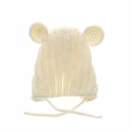 Wangcui Cappellino Berretto da Bebè Orso Bambino Berretto Invernale Caldo  (Colore   Bianca) 70c2d17f2393