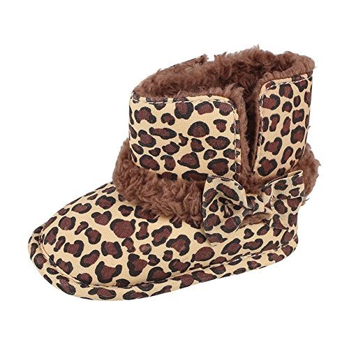 Warm Lovely Soft Sole Baby Girls Bowknot Leopard Snow Fur Boots Crib Shoes (Baby Leopard Pictures)