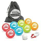 GoSports 90mm Backyard Bocce Set 8 Balls, Pallino, Case Measuring Rope | Choose Hard Resin Balls Soft Rubber Balls