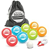 GoSports 90mm Backyard Bocce Set with 8 Balls, Pallino, Case and Measuring Rope | Choose Hard Resin Balls or Soft Rubber Balls