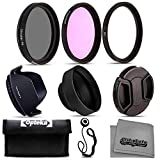 Opteka 52mm DSLR 3pc Filter Accessory Starter Kit with Ultra Violet, Circular Polarizing and Florescent Lighting Filters, Collapsible Rubber & Petal Lens Hood with Lens Cap and Cap Keeper