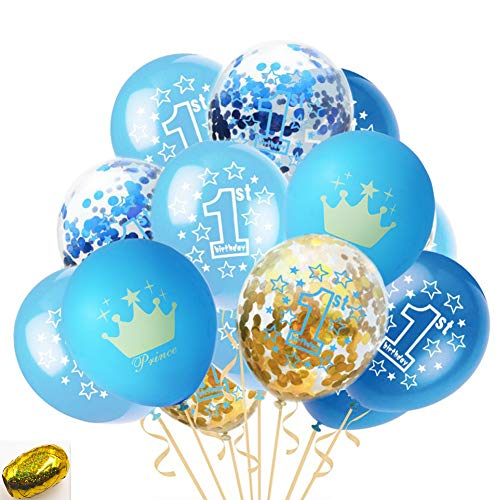 First Birthday Balloons, Blue, Light Blue, Confetti Balloons Pack of 20, 12 Inch, Great for Baby Girl Boy 1st Birthday Party - First Balloons Birthday