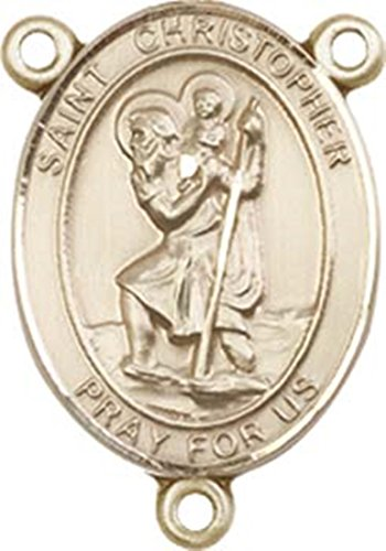 Kt gold filled catholic patron saint rosary centerpiece
