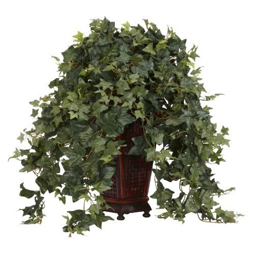 Nearly Natural 6702 Vining Puff Ivy with Vase Decorative Silk Plant, Green by Nearly Natural