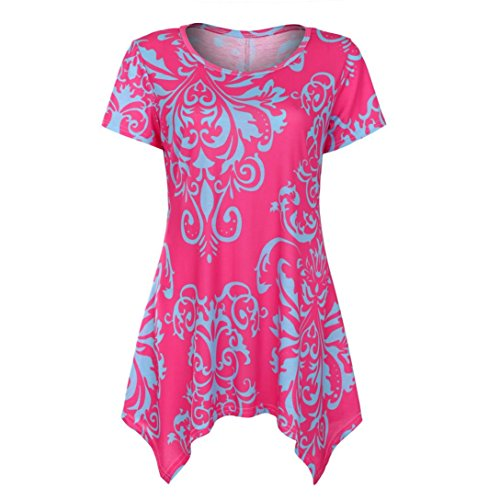 FORUU T Shirts for Women Short Sleeve Swing Tunic Summer Floral Flare Tee Blouse Hot Pink