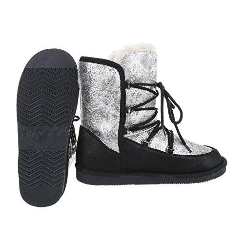 Chaussures femme Bottes et bottines Plat Bottines a lacet Ital-Design Noir Argent h9gZ8CdTOi