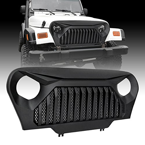 IPARTS Matte Black Gladiator Grille Cover Vader Grill w/Mesh Inserts for Jeep Wrangler TJ 1997-2006 Rubicon Sahara Sport -