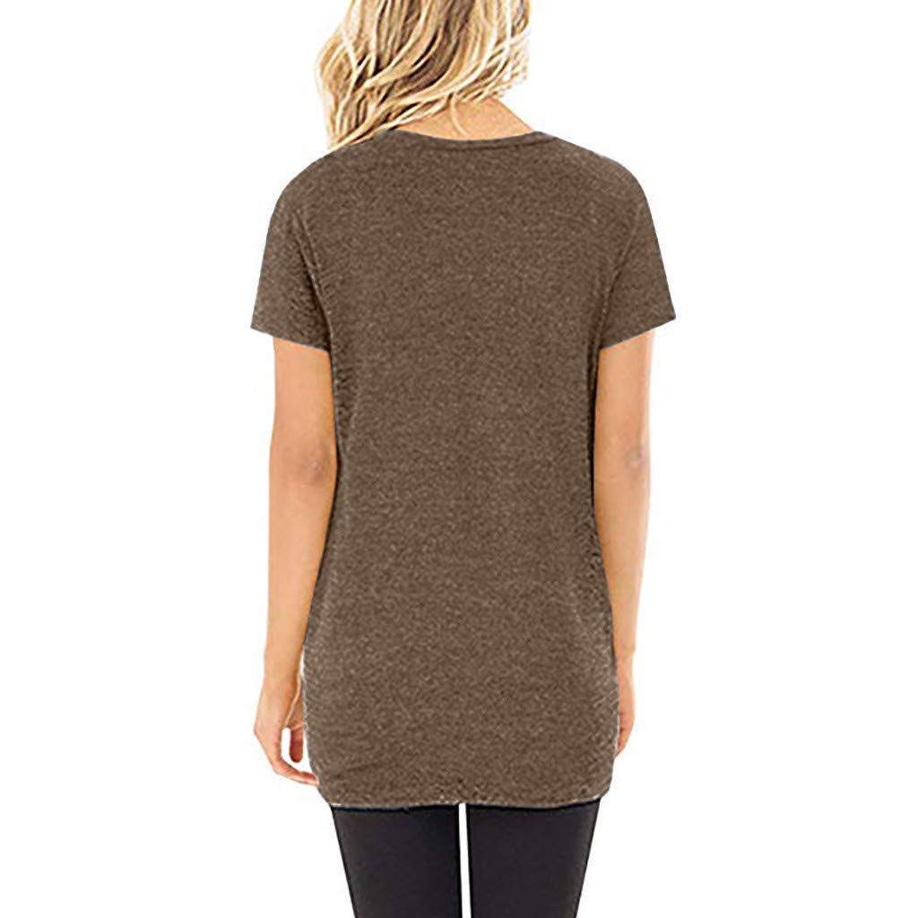 Amlaiworld Women Casual Tee Tops Solid Short Sleeve O Neck Blouse Twist Knotted Tops T Shirt Tunic Shirt