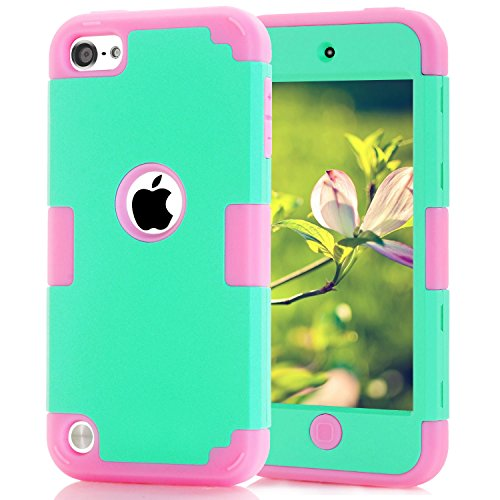 iPod Touch 5 Case,iPod Touch 6 Case, Dual Layered 3 in 1 Hard PC Case + Silicone Shockproof Heavy Duty High Impact Armor Hard Case Cover for Apple iPod touch 5 6th Generation (sky blue+pink) (Gen Ipod Case Touch Girl 5th Blue)