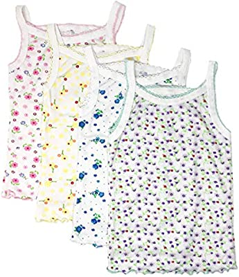 4, Floral Designs I/&S Girls 4 Pack Soft Cotton Cami Spaghetti Strap Tank Tops Undershirts