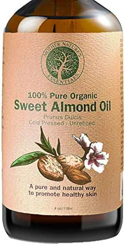 Sweet Almond Oil 4 oz Organic Highest Quality, Cold Pressed Hexane Free Sweet Almond Oil. Non-GMO. Perfect Under-Eye Treatment Fighting Dark Circles Full Body Massage Oil. The Best Carrier Oil.
