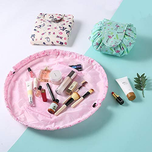 Lipstick AUERVO Sac Cosm/étique de Stockage Paresseux,Pochette de Maquillage Imperm/éable /à Cordon de Serrage Sac Portatif de Toilette de Voyage de Grande Capacit/é