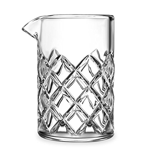 Premium Cocktail Cocktail Mixing Glass/Bar Mixing Glass, 18.5oz/550ml, Clear - Diamond Cut Pattern, Japanese Style [Lead Free]