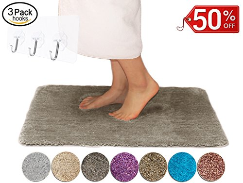 Yimobra Soft Bathroom Rugs Classic Colors Non slip Shower High Absorbent Machine Washable Bath Mat Medium Size 27.5 X 17.8 inch Brown (Presented Wall Hooks 3 (Wall Bath No Color)