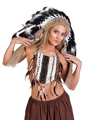 Arsimus Native American Chest Plate (Black/White (Feathers))