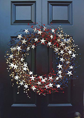 Orchid & Ivy 20 Inch Patriotic Red, White and Blue Berry and Metal Star Americana Door Wreath - 4th of July Decoration