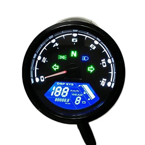 |Instruments|Universal Digital Motorcycle LCD Screen Speedometer Odometer Techometer Gauge Dual Speed|by ATUKI|