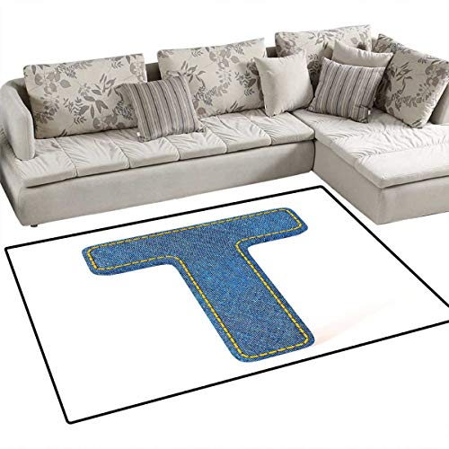 (Letter T Anti-Static Area Rugs Alphabet Design with Denim Texture Element Blue Jeans Stitches Illustration Print Children Kids Nursery Rugs Floor Carpet 40