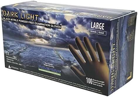 Adenna Dark Light 9 mil Nitrile Powder Free Exam Gloves (Black), Large - Box of 100