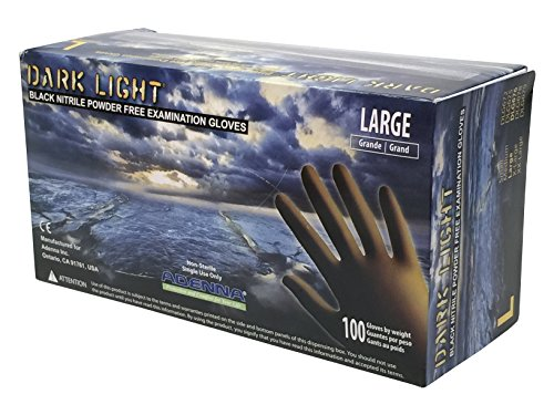 Adenna Dark Light 9 mil Nitrile Powder Free Exam Gloves (Black), Large - Box of 100 (Black Knight Best Gloves)