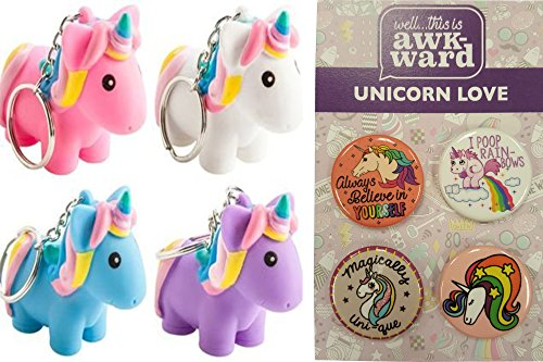 Squeeze and Poop Glittered Poop Mini Unicorn Keychain by Animolds Pink, Blue, Purple & White and Unicorn Button Set Party Bundle - 4 Pack -