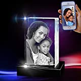 3D Cube Crystal with a Free LED Base That Illuminates The Crystal, Personalize with Your own Custom Engraving (Large Portrait)