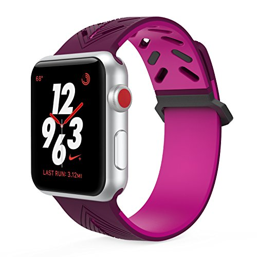 TiMOVO Band for Apple Watch 42mm, Silicone Replacement Band Sport Strap Fit for iWatch 42mm Series 3 Series 2 Series 1, Purple (Series Purple)