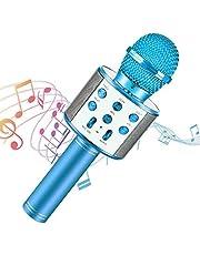 Micrófono Inalámbrico, Portátil Inalámbrica Micrófono y Altavoz del Karaoke con LED para Niños Canta Partido Musica, Micrófono Portátil para Niños, Mejor Regalo para Niñas, Niños y Adultos (Azul)