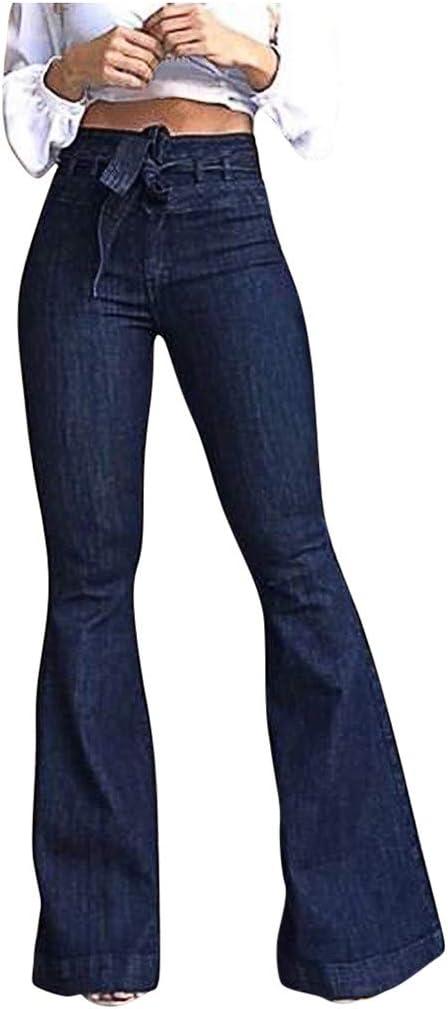 Lazapa Vaqueros De Mezclilla Para Mujer Cintura Alta Con Cordones Correa Micro Elastica Pantalones Acampanados De Pierna Ancha Parte Inferior Delgada Amazon Com Mx Ropa Zapatos Y Accesorios