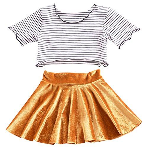 Short Sleeve Velvet Skirt - Meijunter Baby Girls Stripe Short Sleeve T-Shirt+Gold Velvet Dress Skirt Set
