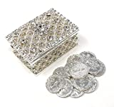 CB Accessories Wedding Unity Coins - Arras de Boda - Chest Box and Decorative Rhinestone Crystals Keepsake (Silver)