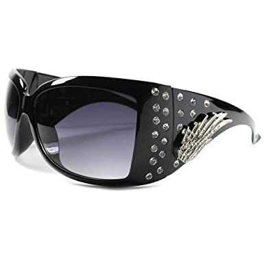 113261e8e43 Elegant Cowgirl Bling Rhinestone Large Oversized Sexy Womens Wrap Sunglasses