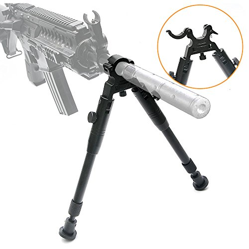 bestsight Clamp-on Bipod for Rifles 6-9 inch Folding Hard Bipod Adjustable Height Rubber Feet Metal Universal Mount