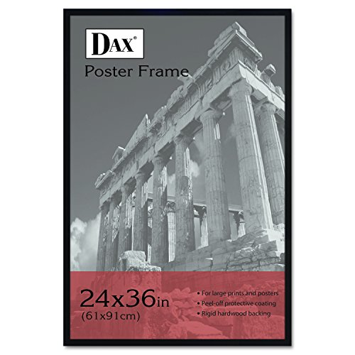 DAX 286036X Flat Face Wood Poster Frame, Clear Plastic Window, 24 x 36, Black - Faces For Narrow Frames