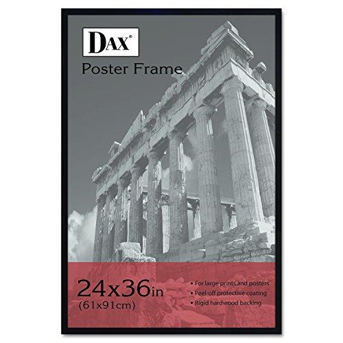 DAX 286036X Flat Face Wood Poster Frame, Clear Plastic Window, 24 x 36, Black Border - Black Poster Print