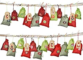 KOHMUI Adventskalender zum Befüllen, 24 Stoffsäckchen Kette Set zum Selbstbefüllen Aufhängen, Jutesäckchen Stoffbeutel...