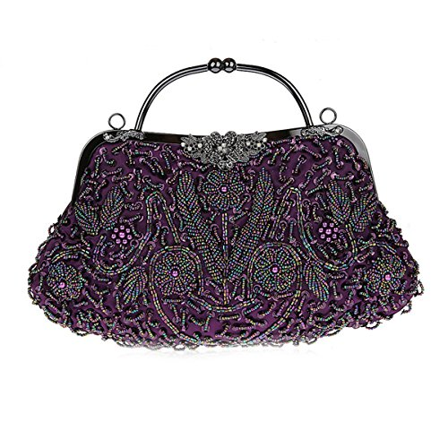 Champagne Beaded Vintage Evening Clutch Women for Leaves for Clutches Violet Purse Flada Handbag Wedding qc6YI7Fw