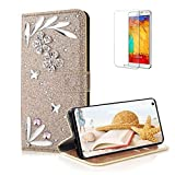 Funyye 3D Bling Flower Diamond Wallet Leather Case for Samsung Galaxy S10E,Gold Premium Glitter Crystal Magnetic Flip with Stand Credit Card Holder Slots Case for Samsung Galaxy S10E