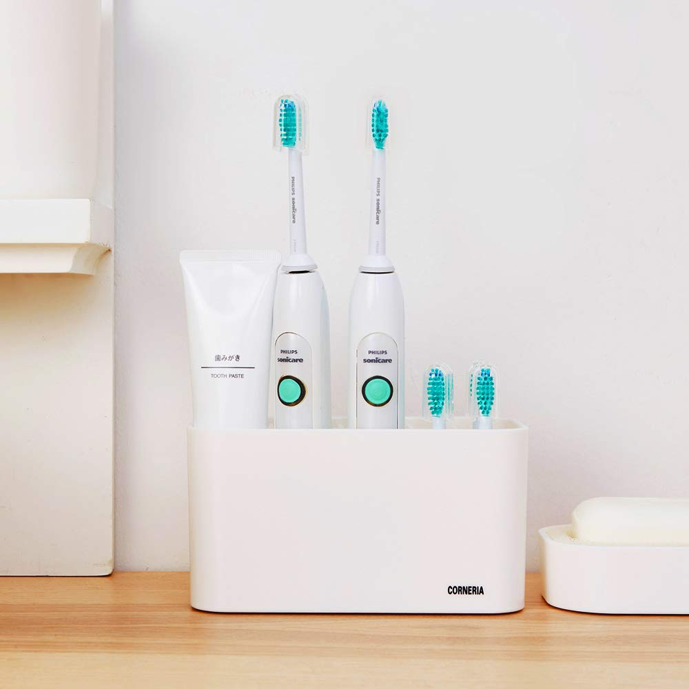 CORNERIA Easy-Store Toothbrush Holder - Bathroom Wall Mounted Toothpaste Stand and Toothbrush Caddy for Electric Toothbrushes (White)