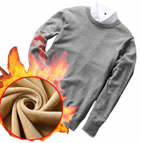 Crewneck today Long Mens Pullover Knitted Sweater UK Thicken Grey Sleeve Winter rwIw5Yq
