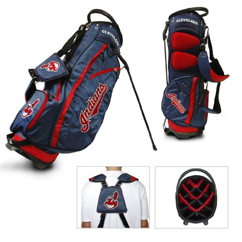 (Team Golf MLB Cleveland Indians Fairway Golf Stand Bag, Lightweight, 14-way Top, Spring Action Stand, Insulated Cooler Pocket, Padded Strap, Umbrella Holder & Removable Rain Hood)