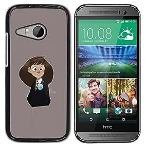 """For HTC ONE MINI 2 / M8 MINI Case , Gris colegiala lindo de los niños de dibujo"""" - Diseño Patrón Teléfono Caso Cubierta Case Bumper Duro Protección Case Cover Funda"""