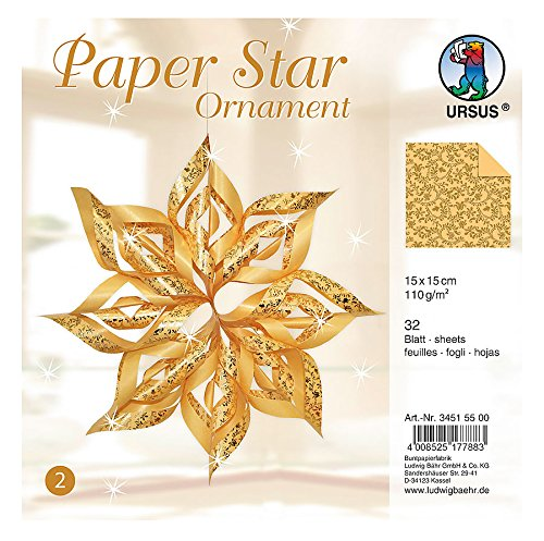 Ursus 34515500 Paper Star Ornament 2 - 4 Stars, Size: 40 x 40 cm Gold (Jewelry Star Moravian)
