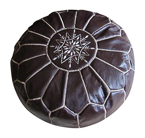 Marrakesh Gardens Unstuffed Genuine Leather Moroccan Hassock Pouf Pillow Cover, Authentic Handmade by Moroccan Artisans, Black from Marrakesh Grdens