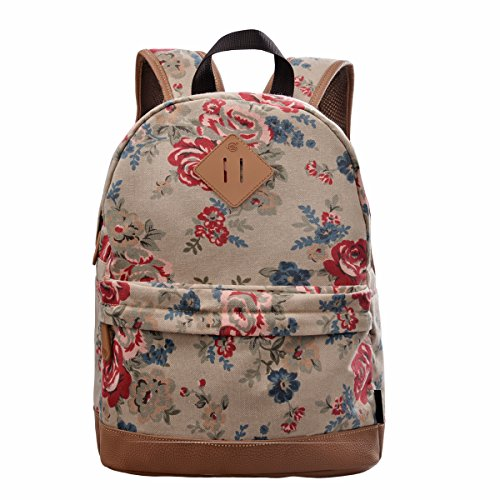 Douguyan Girl's Casual Lightweight Print Backpack Cute School Bag Campus Satchel Khaki 133b